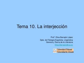 Tema 10. La interjección