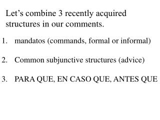 Let's combine 3 recently acquired structures in our comments.
