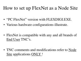 How to set up FlexNet as a Node Site
