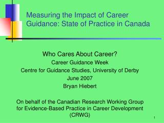 Measuring the Impact of Career Guidance: State of Practice in Canada