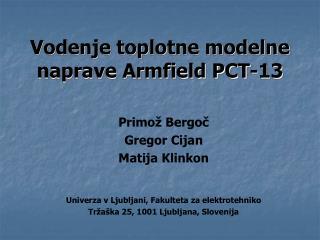 Vodenje toplotne modelne naprave Armfield PCT-13