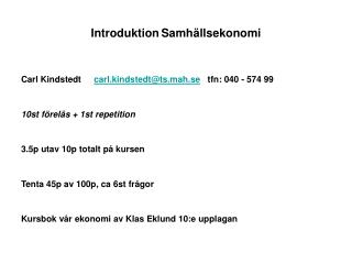 Introduktion	Samh�llsekonomi
