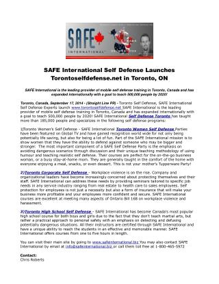 SAFE International Self Defense Launches Torontoselfdefense.