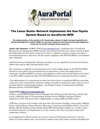 The Lexus Dealer Network Implements the Gea-Toyota System Ba