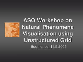 ASO W orkshop  on Natural Phenomena Visualisation using Unstructured Grid