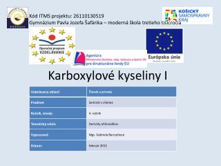 Karboxylové kyseliny I