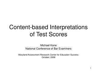 Content-based Interpretations of Test Scores