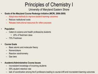 Principles of Chemistry I University of Maryland Eastern Shore