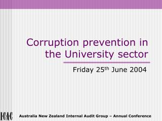 Corruption prevention in the University sector
