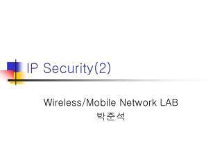 IP Security(2)
