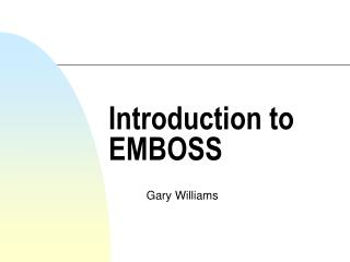 Introduction to EMBOSS