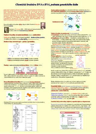 Chemická štruktúra DNA a RNA, podstata genetického kódu