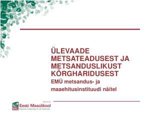 LEVAADE METSATEADUSEST JA METSANDUSLIKUST K RGHARIDUSEST  EM  metsandus- ja maaehitusinstituudi n itel