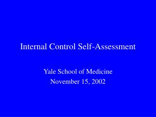 Internal Control Self-Assessment