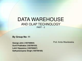 DATA WAREHOUSE  AND OLAP TECHNOLOGY  PART - 2