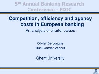 5th Annual Banking Research Conference - FDIC