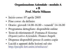 Organizzazione Aziendale - modulo A  e B  Prof. Mario Milazzo