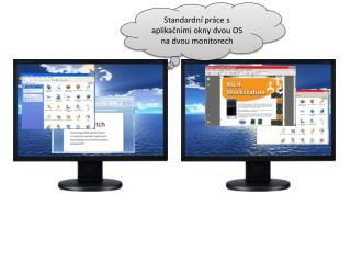 Standardní práce s aplikačními okny dvou OS na dvou monitorech
