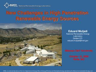 Eduard Muljadi National Renewable Energy Laboratory  Golden CO   eduard.muljadi@nrel