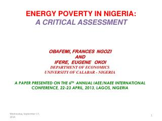 ENERGY POVERTY IN NIGERIA:  A CRITICAL ASSESSMENT