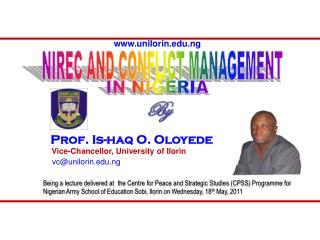 NIREC AND CONFLICT MANAGEMENT