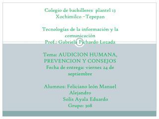 Colegio de bachilleres  plantel 13  Xochimilco �Tepepan