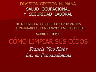 DIVISION GESTION HUMANA SALUD  OCUPACIONAL  Y  SEGURIDAD  LABORAL