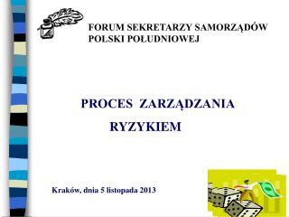 PROCES  ZARZĄDZANIA  RYZYKIEM Kraków, dnia 5 listopada 2013
