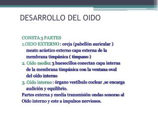 DESARROLLO DEL OIDO