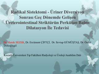 Dr. Hande SEZER , Dr. Ercüment ÇİFTÇİ,  Dr.  Sevtap  GÜMÜŞTAŞ, Dr.  Özdal Dillioğlugil