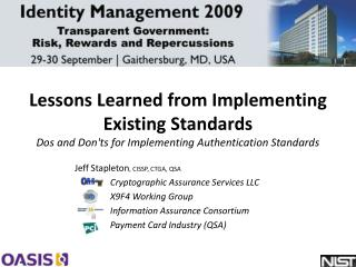 Lessons Learned from Implementing Existing Standards  Dos and Donts for Implementing Authentication Standards
