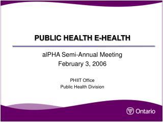 PUBLIC HEALTH E-HEALTH