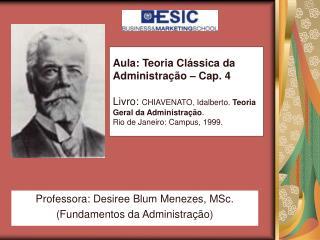 Professora: Desiree Blum Menezes, MSc. (Fundamentos da Administração)