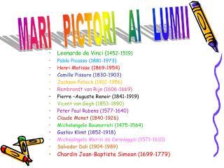 Leonardo da Vinci ( 1452-1519) Pablo Picasso (1881-1973) Henri Matisse (1869-1954)