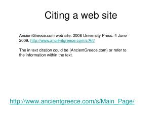 Citing a web site