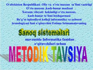 METODIK TAVSIYA