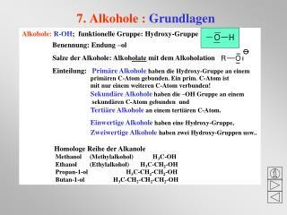 7. Alkohole :  Grundlagen