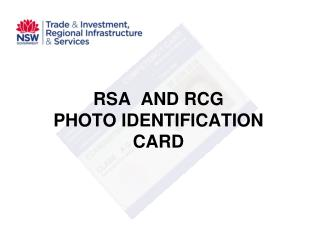 RSA  AND RCG  PHOTO IDENTIFICATION CARD