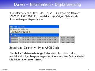 Daten – Information - Digitalisierung