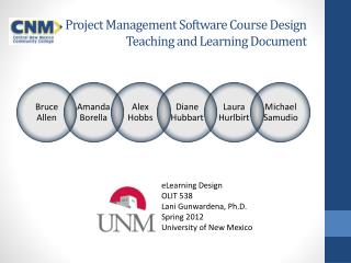 Project Management Software Course Design Teaching and Learning Document