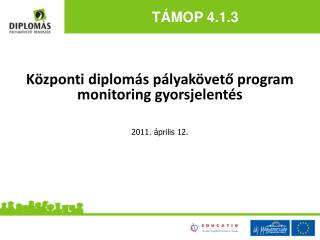 Központi diplomás pályakövető program monitoring gyorsjelentés 2011. április 12.
