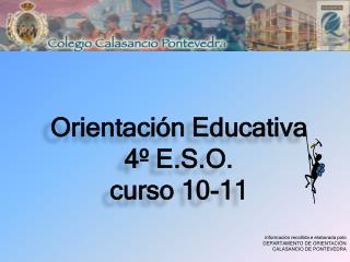 Orientación Educativa 4º E.S.O. curso 10-11