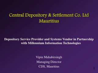 Central Depository  Settlement Co. Ltd Mauritius