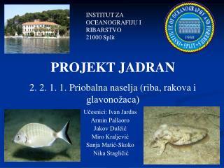 PROJEKT JADRAN 2. 2. 1. 1. Priobalna naselja (riba, rakova i glavonožaca)