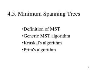 4.5. Minimum Spanning Trees