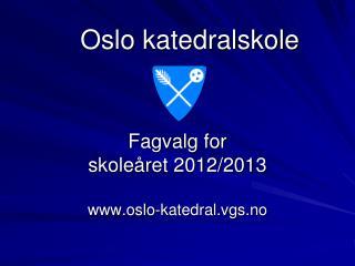 Fagvalg for  skoleåret 2012/2013 oslo-katedral.vgs.no