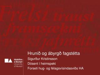 Hrunið og ábyrgð fagstétta Sigurður Kristinsson Dósent í heimspeki