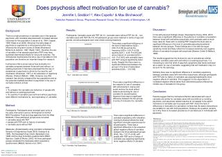 Does psychosis affect motivation for use of cannabis Jennifer L Seddon1,2, Alex Copello1  Max Birchwood2,  1Addiction Re