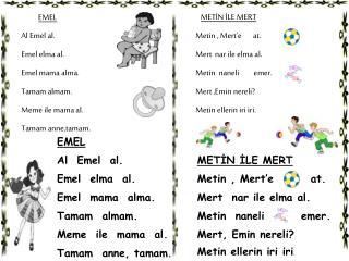 EMEL Al Emel al. Emel elma al. Emel mama alma. Tamam almam. Meme ile mama al. Tamam anne,tamam .