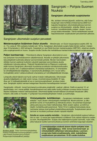 Sanginjoki � Pohjois-Suomen Nuuksio Sanginjoen ulkomets�n suojeluhanke